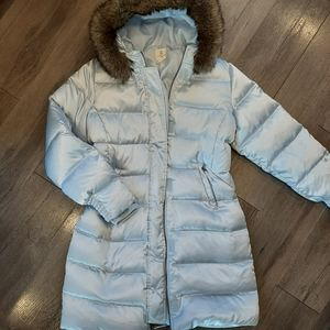 Lands End Kids Down Puffe Jacket Long silver lilac